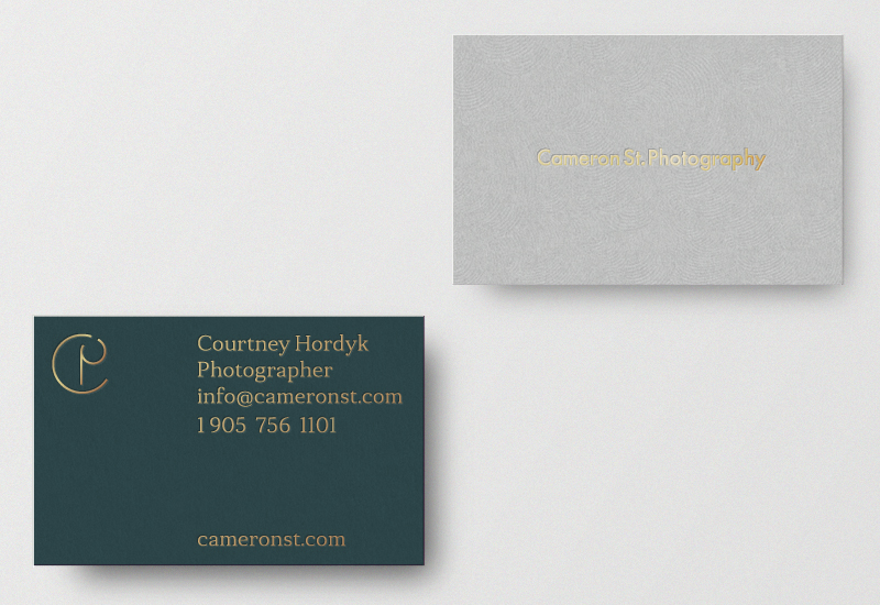 Brand identity and business cards for photographer Cameron St by Richard Baird