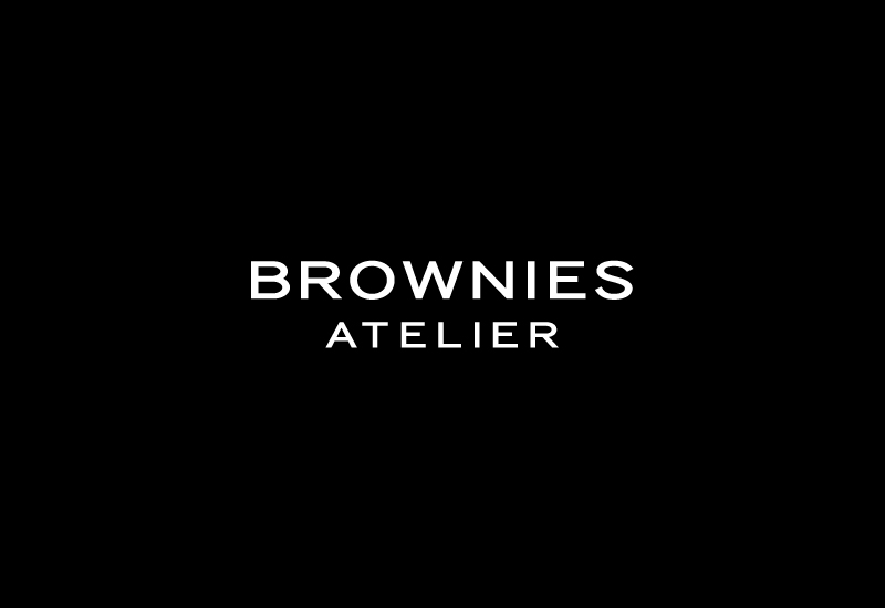 Extended, uppercase, sans-serif logotype design by Richard Baird for Peruvian brownie brand Brownies Atelier