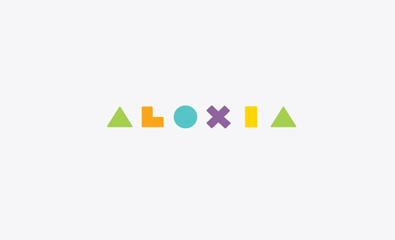 Geometric logotype designed by Richard Baird for innovative secure earring back product Aloxia