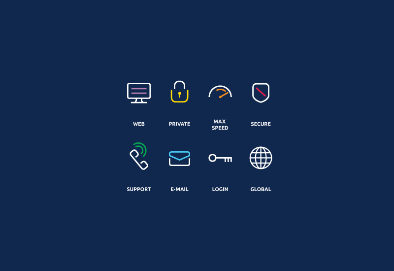 Icons designed by Richard Baird as part of a brand identity project for secure network provider IVPN