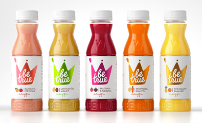 Packaging design for Be True smoothies created by Studio In