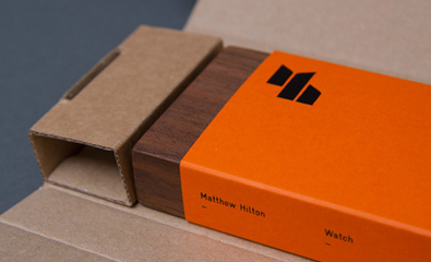 Packaging design by Spin for furniture designer Matthew Hilton's new watch