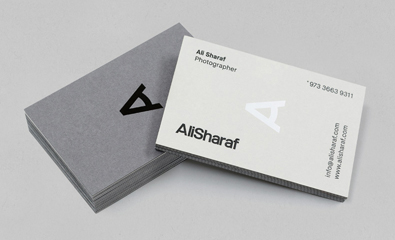 Logo and stationery design for Ali Sharaf created by Mash Creative
