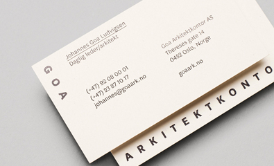 Logo and stationery for Goa Arkitektkontor by Heydays
