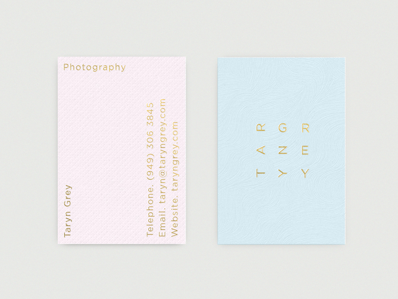 Logotype and business cards for photographer Taryn Grey designed by Richard Baird