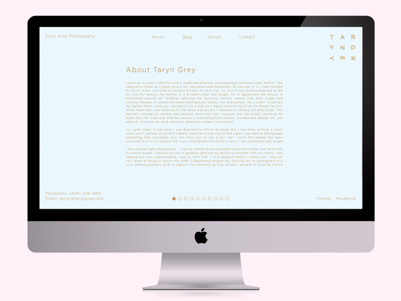 Website concept for photographer Taryn Grey designed by Richard Baird