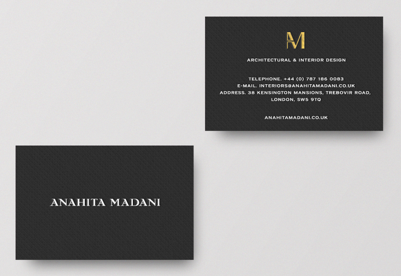 Brand identity and business cards for interior design business by Richard Baird