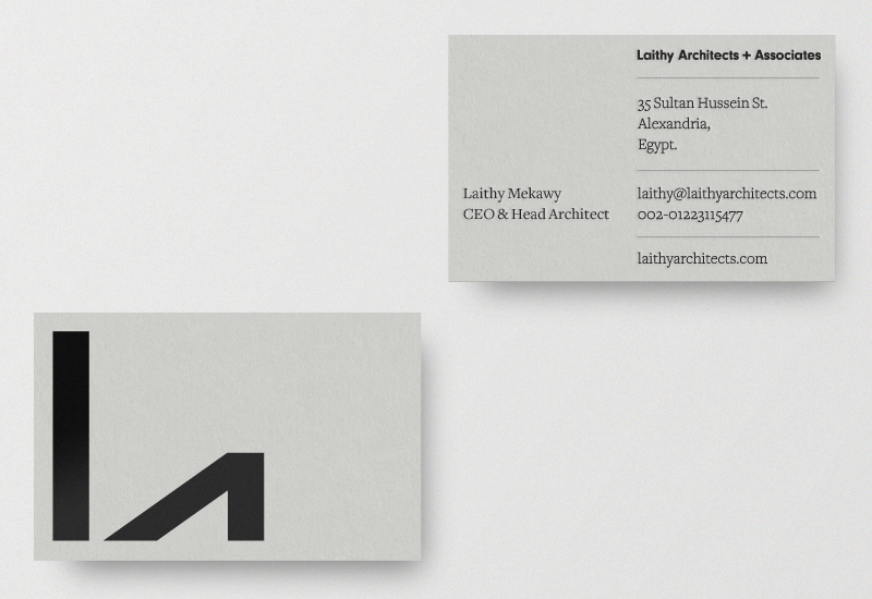 Logo and black block foil business cards designed by Richard Baird for Tel-Aviv based architectural practice Laithy Architects.