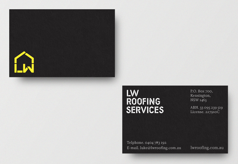 Monogram, logotype and business cards designed by Richard Baird for LW Roofing Services.