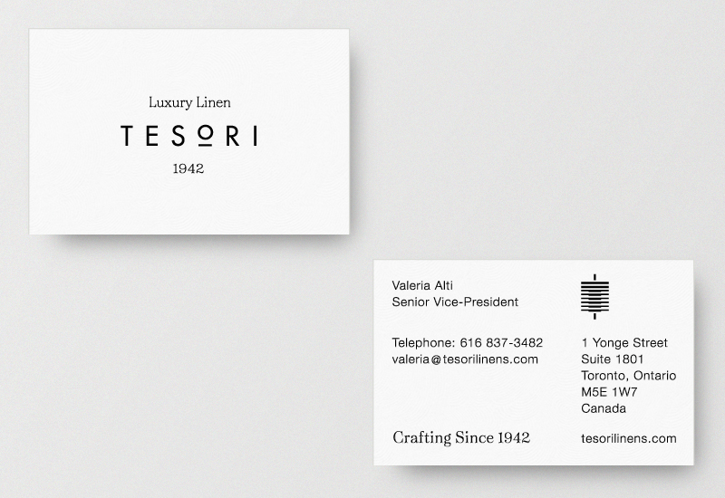Brand identity and business cards for Tesori Luxury Linen by Richard Baird